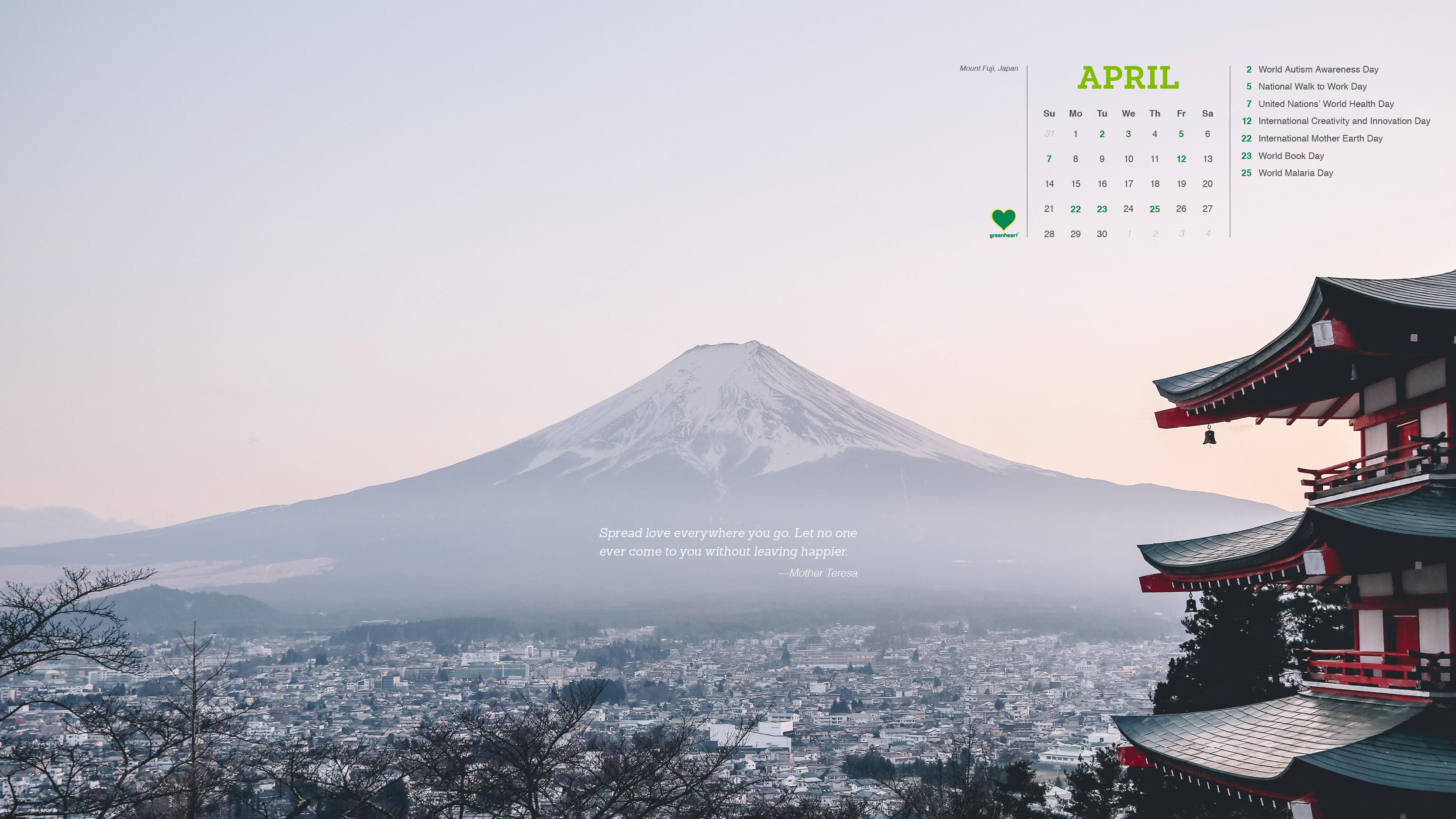 Greenheart Calendar – April 2019