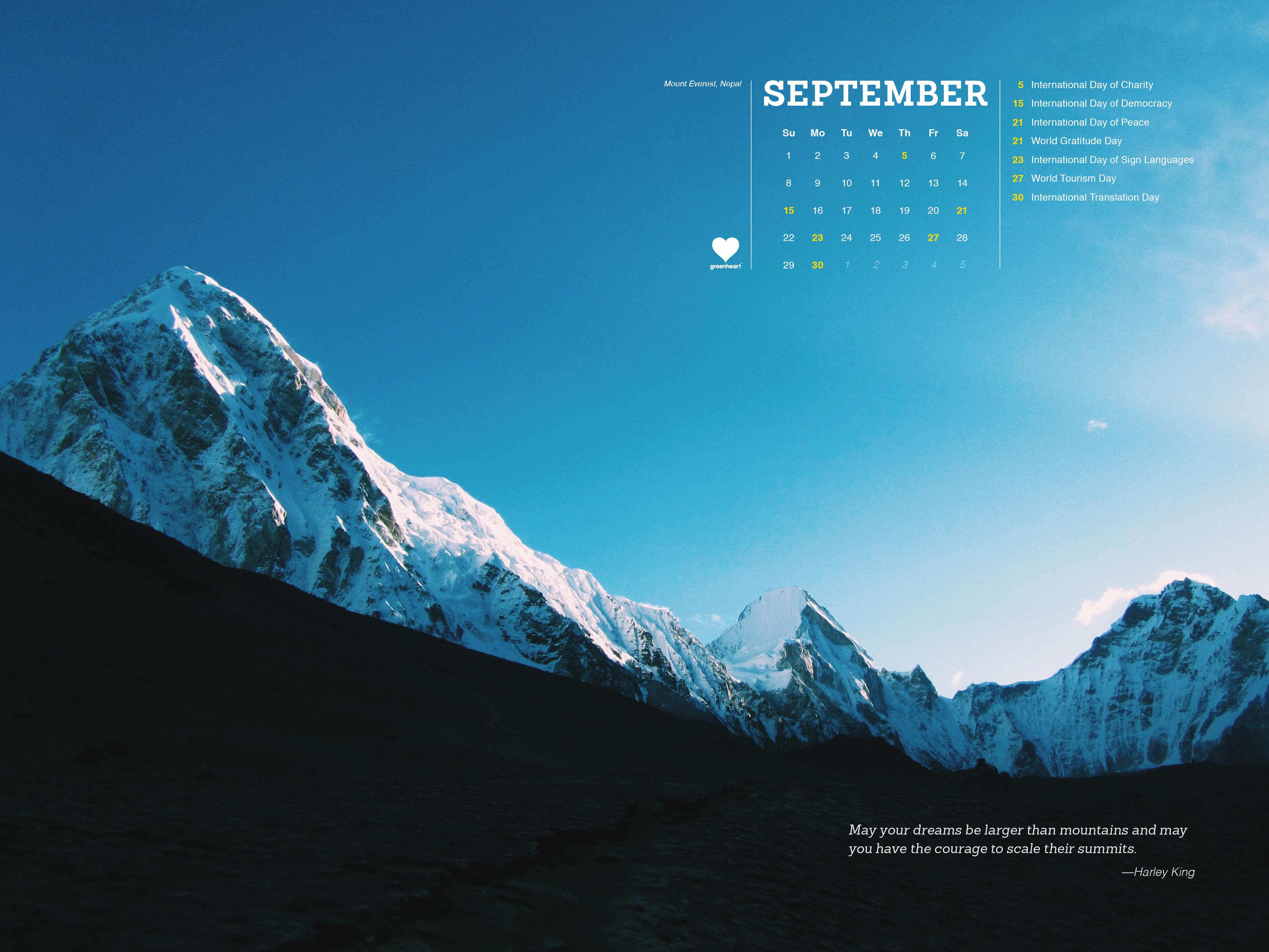 Falling into September – the Greenheart Global Calendar